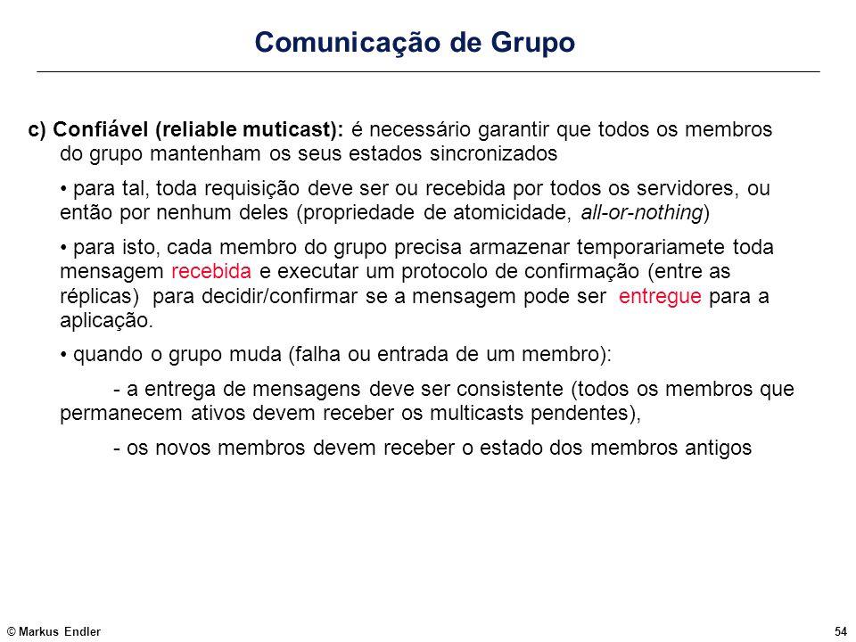 Comunicação de Grupo c) Confiável (reliable muticast): é necessário garantir que todos os membros do grupo mantenham os seus estados sincronizados.