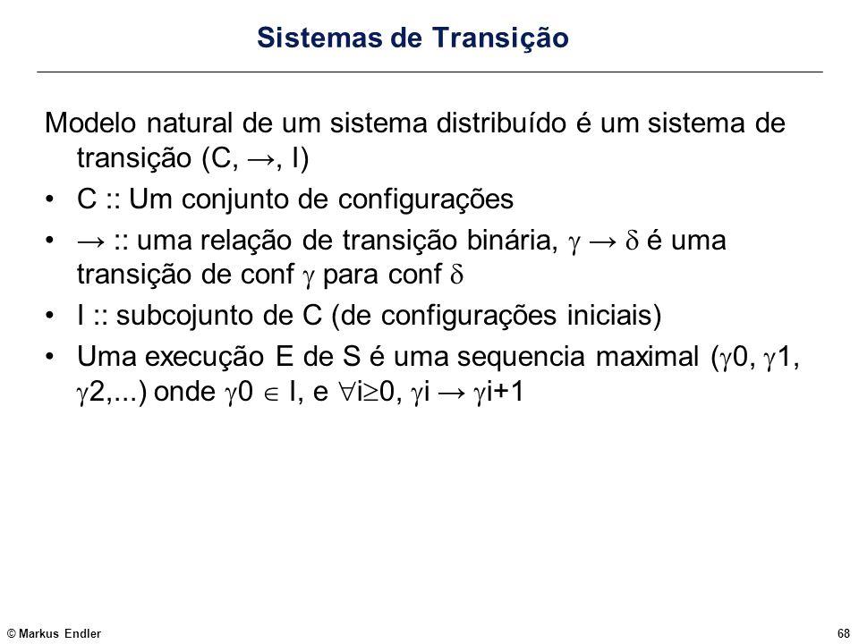 Sistemas de Transição Modelo natural de um sistema distribuído é um sistema de transição (C, →, I) C :: Um conjunto de configurações.