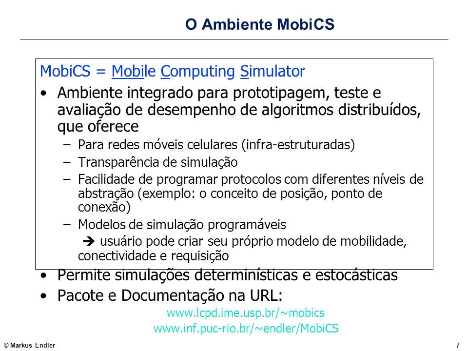 MobiCS = Mobile Computing Simulator