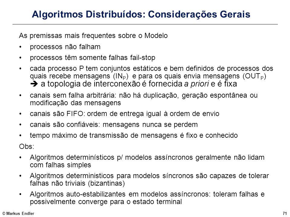 Algoritmos Distribuídos: Considerações Gerais