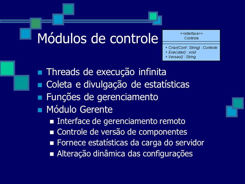 Módulos de controle Threads de execução infinita