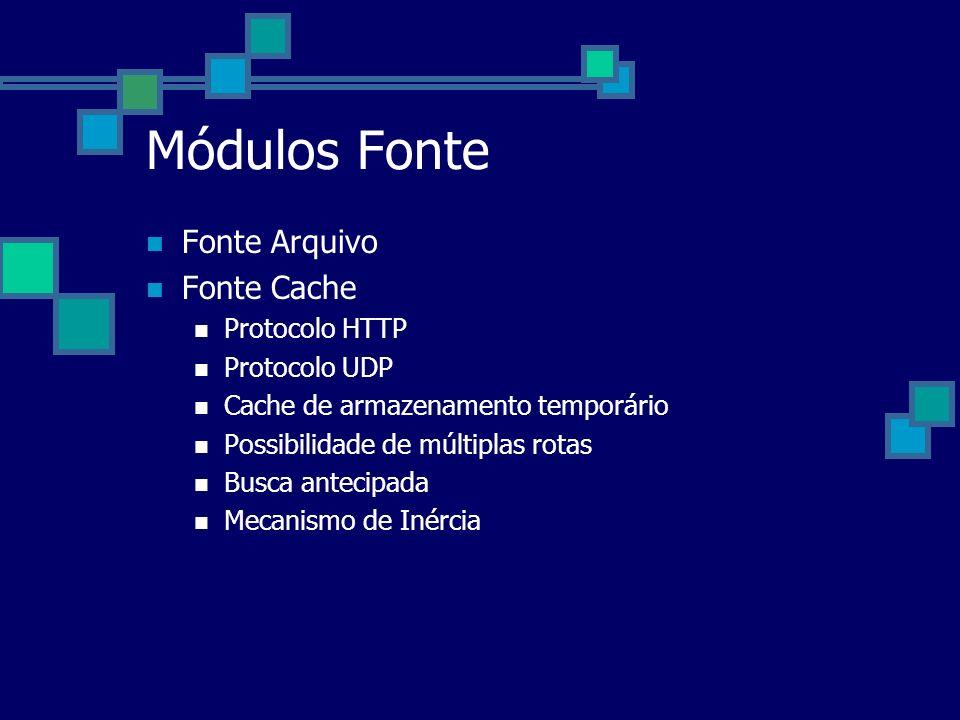 Módulos Fonte Fonte Arquivo Fonte Cache Protocolo HTTP Protocolo UDP