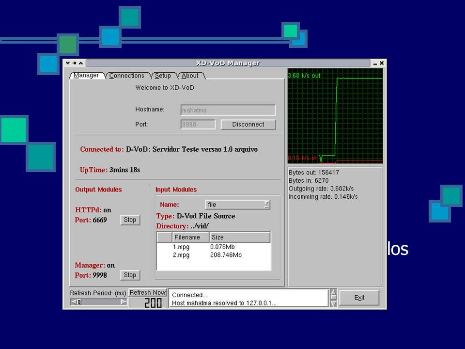 Módulo Gerente Fornece uma interface HTTP para gerenciamento do servidor. Browser. Interface gráfica.