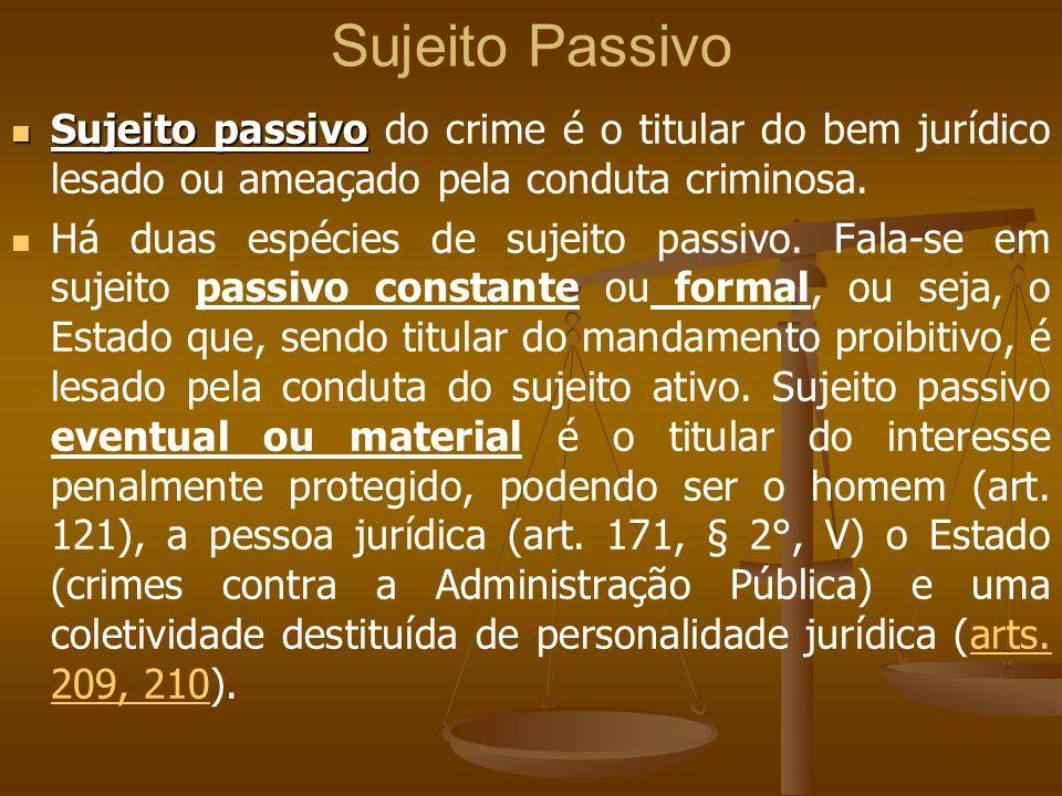 Sujeito Passivo Sujeito passivo do crime é o titular do bem jurídico lesado ou ameaçado pela conduta criminosa.