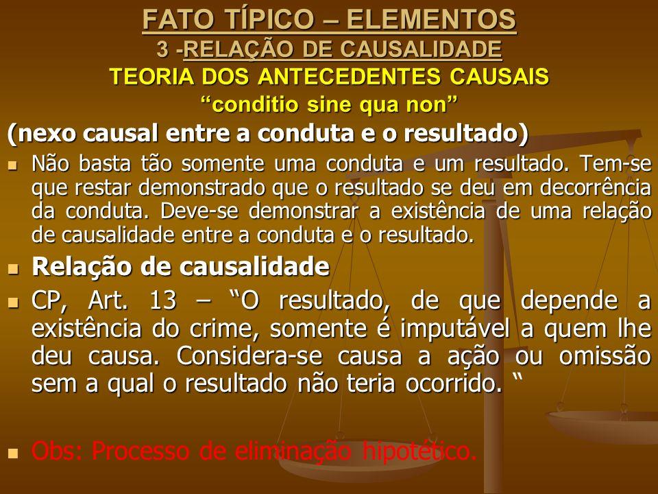 FATO TÍPICO – ELEMENTOS 3 -RELAÇÃO DE CAUSALIDADE TEORIA DOS ANTECEDENTES CAUSAIS conditio sine qua non