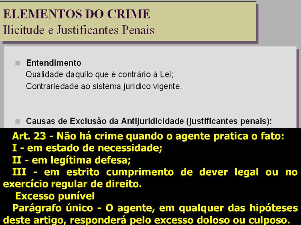 Art. 23 - Não há crime quando o agente pratica o fato: