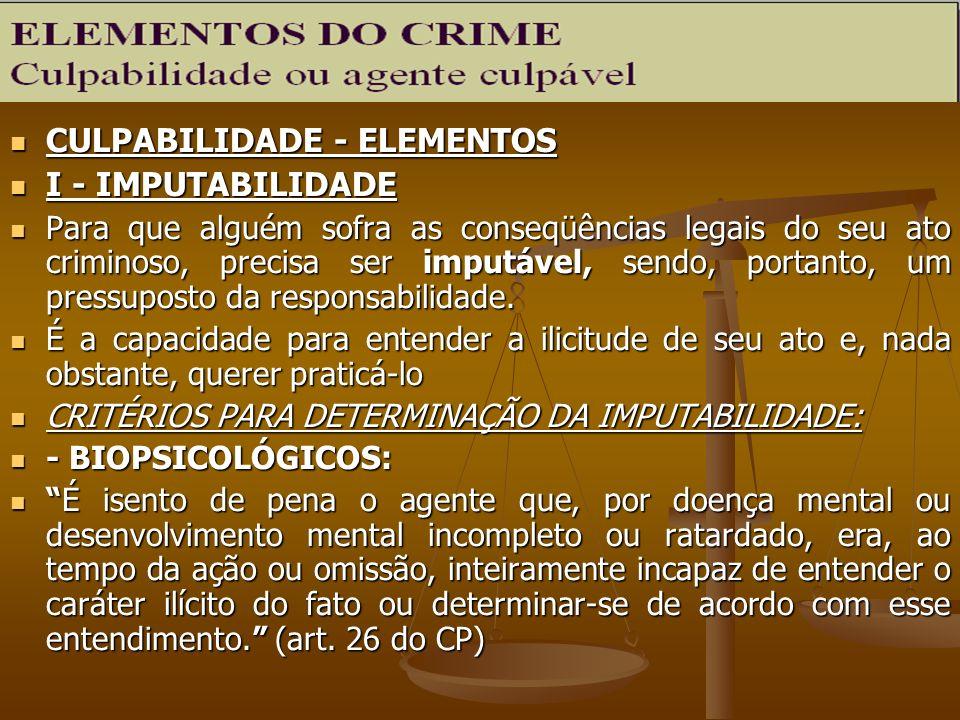 CULPABILIDADE - ELEMENTOS I - IMPUTABILIDADE