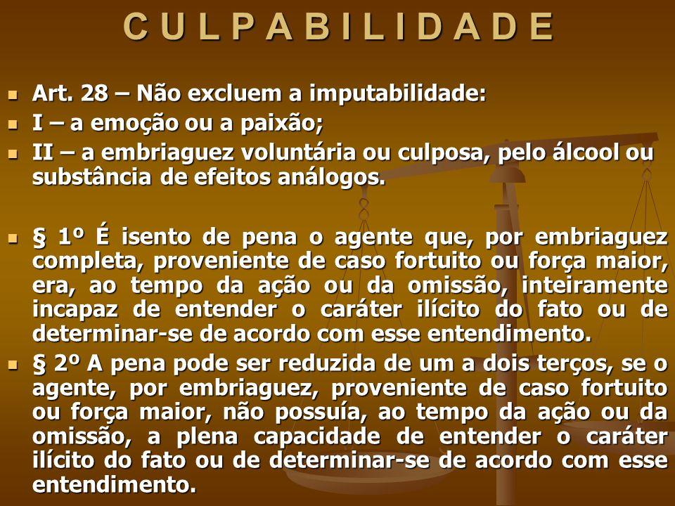 C U L P A B I L I D A D E Art. 28 – Não excluem a imputabilidade: