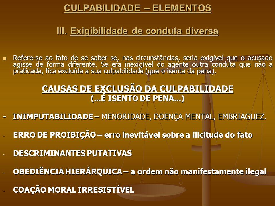 CULPABILIDADE – ELEMENTOS III. Exigibilidade de conduta diversa