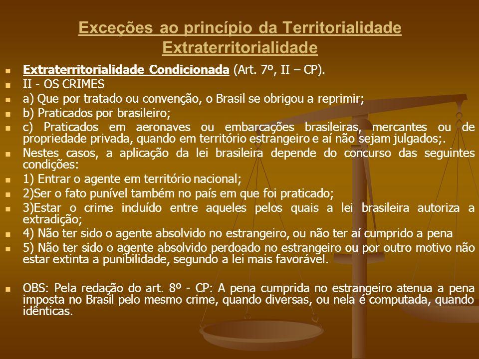 Exceções ao princípio da Territorialidade Extraterritorialidade