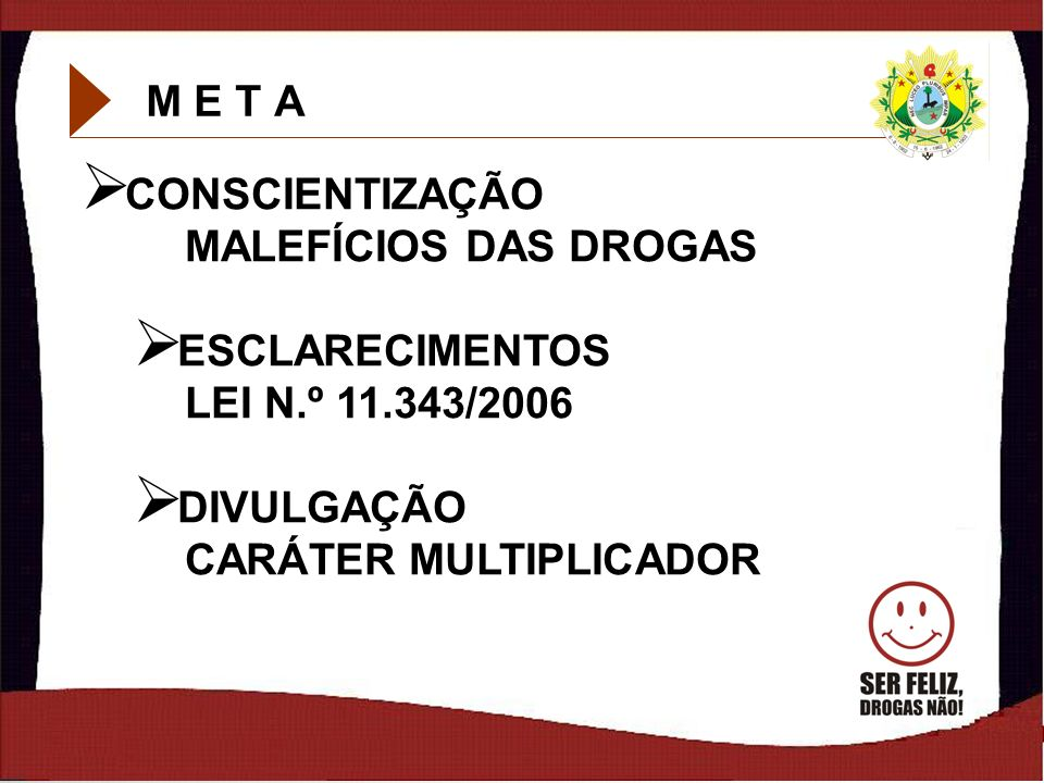 M E T ACONSCIENTIZAÇÃO MALEFÍCIOS DAS DROGAS.ESCLARECIMENTOS LEI N.º 11.343/2006.