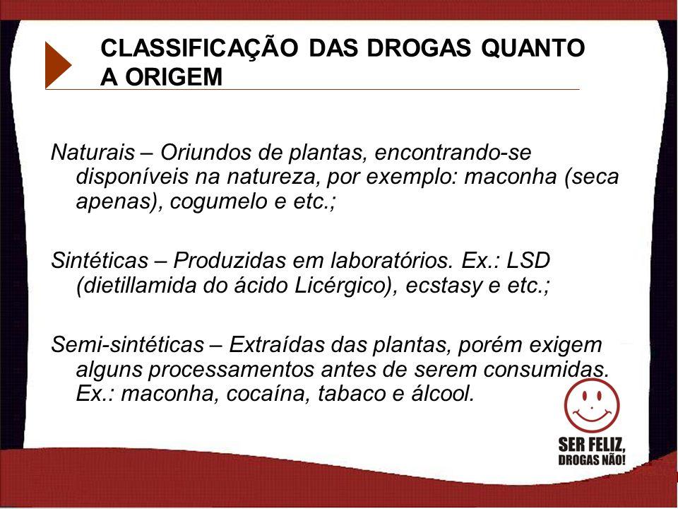 CLASSIFICAÇÃO DAS DROGAS QUANTO A ORIGEM