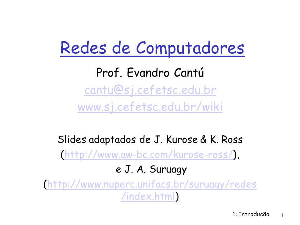 Redes de Computadores Prof. Evandro Cantú cantu@sj.cefetsc.edu.br