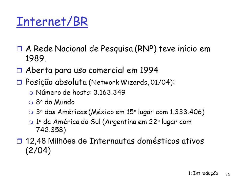 Internet/BR A Rede Nacional de Pesquisa (RNP) teve início em 1989.