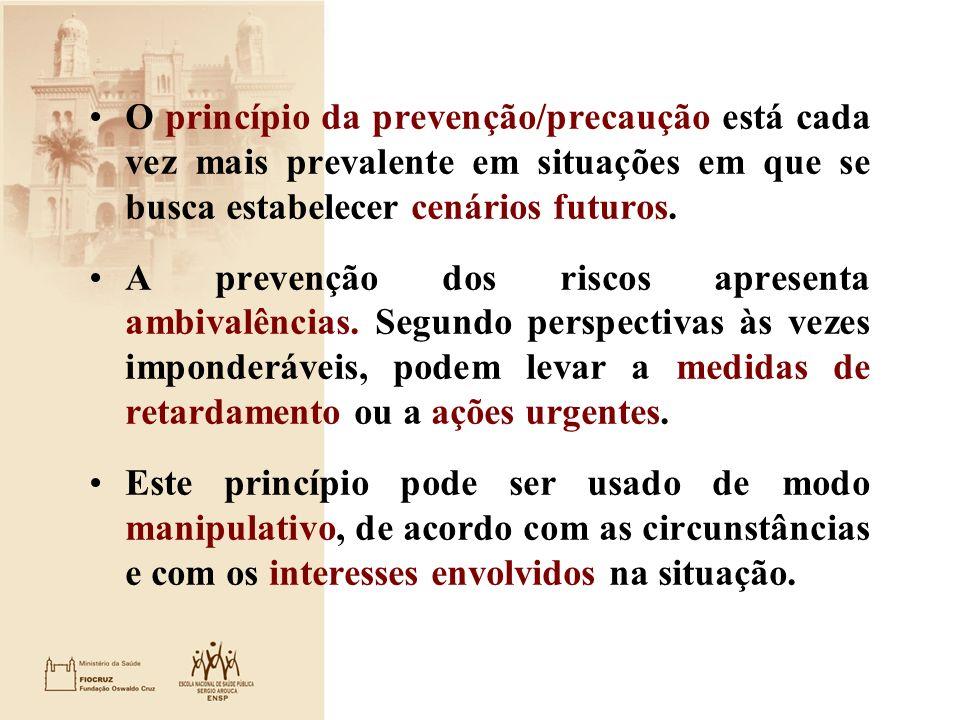 O princípio da prevenção/precaução está cada vez mais prevalente em situações em que se busca estabelecer cenários futuros.