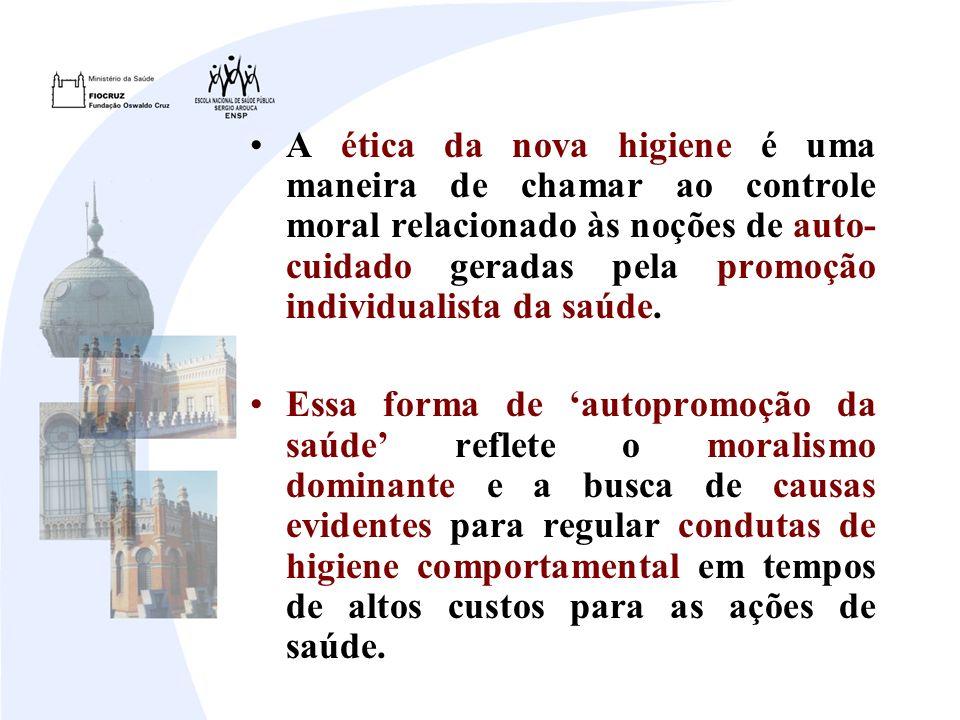A ética da nova higiene é uma maneira de chamar ao controle moral relacionado às noções de auto-cuidado geradas pela promoção individualista da saúde.