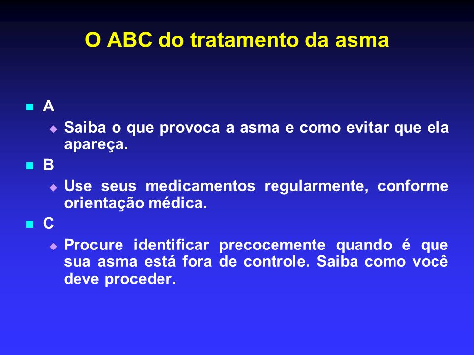 O ABC do tratamento da asma