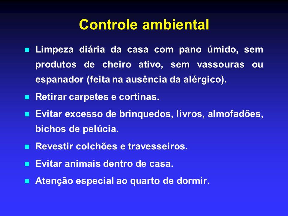 Controle ambientalLimpeza diária da casa com pano úmido, sem produtos de cheiro ativo, sem vassouras ou espanador (feita na ausência da alérgico).