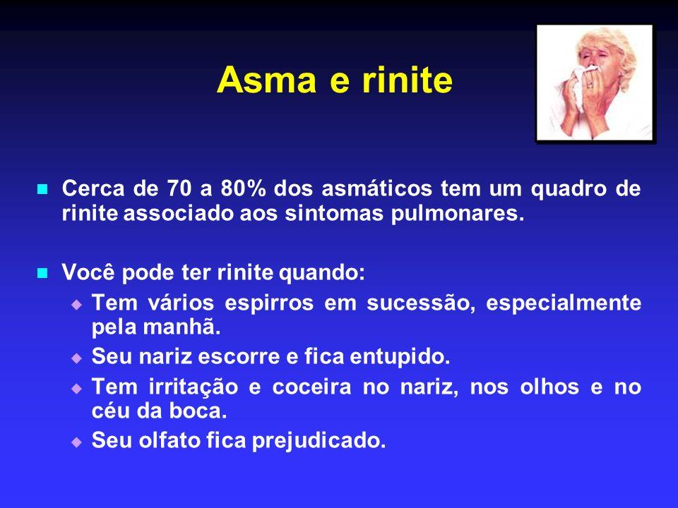 Asma e rinite Cerca de 70 a 80% dos asmáticos tem um quadro de rinite associado aos sintomas pulmonares.