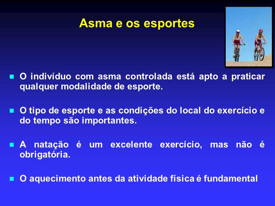 Asma e os esportesO indivíduo com asma controlada está apto a praticar qualquer modalidade de esporte.