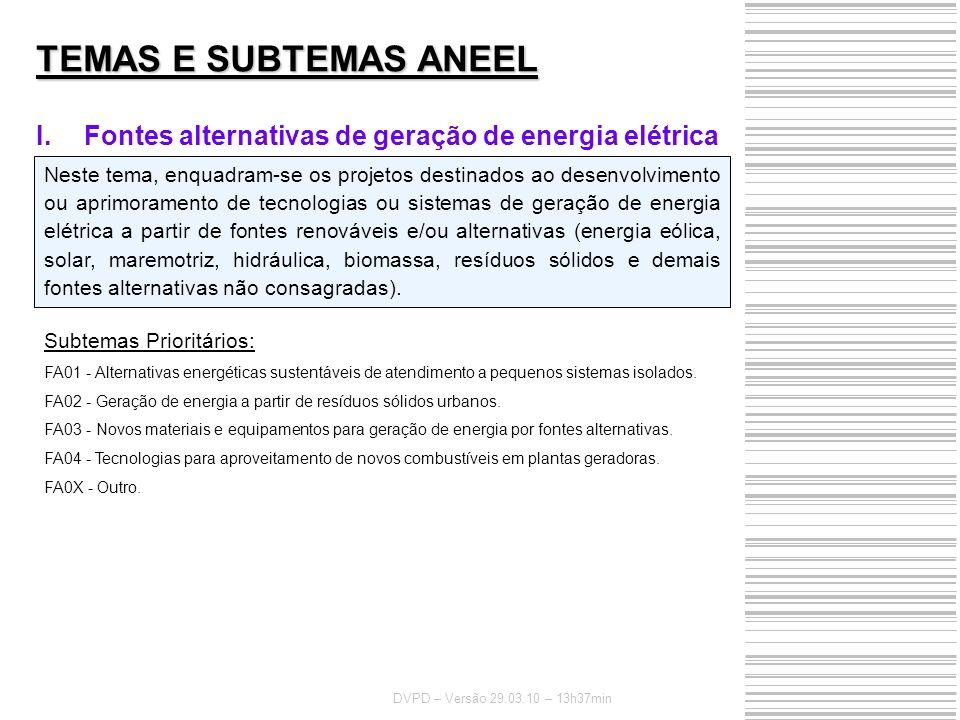TEMAS E SUBTEMAS ANEEL Fontes alternativas de geração de energia elétrica.