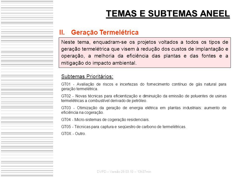 TEMAS E SUBTEMAS ANEEL Geração Termelétrica