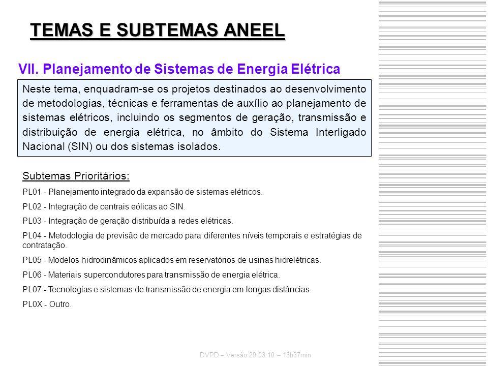 TEMAS E SUBTEMAS ANEEL Planejamento de Sistemas de Energia Elétrica