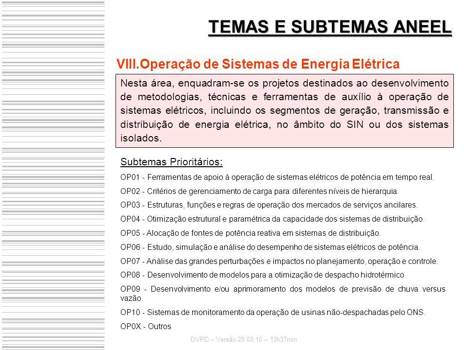 TEMAS E SUBTEMAS ANEEL Operação de Sistemas de Energia Elétrica