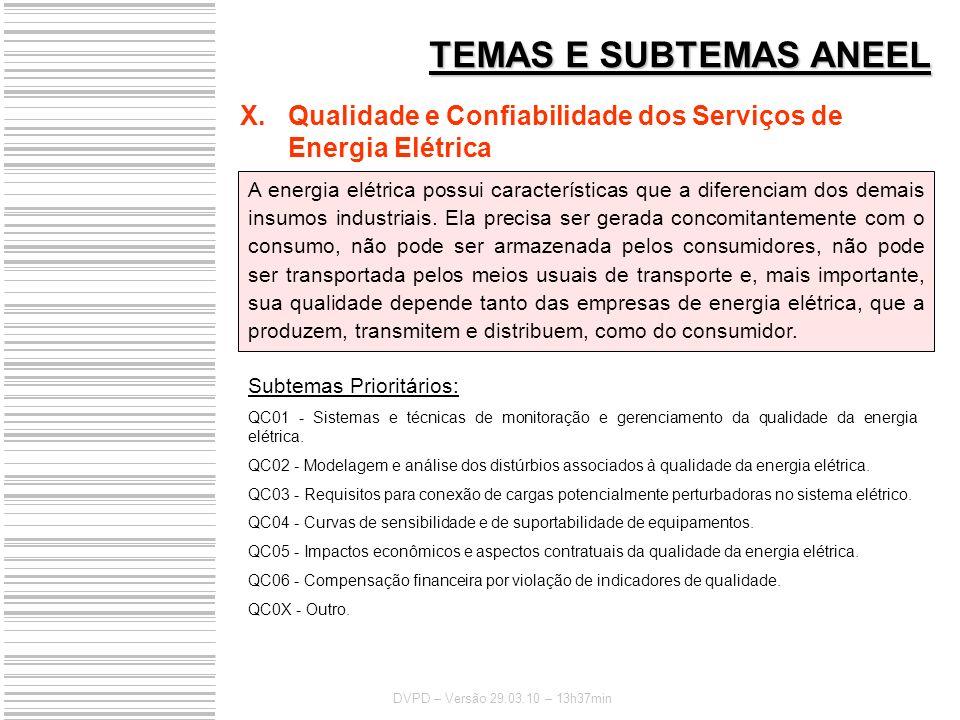 TEMAS E SUBTEMAS ANEEL Qualidade e Confiabilidade dos Serviços de Energia Elétrica.