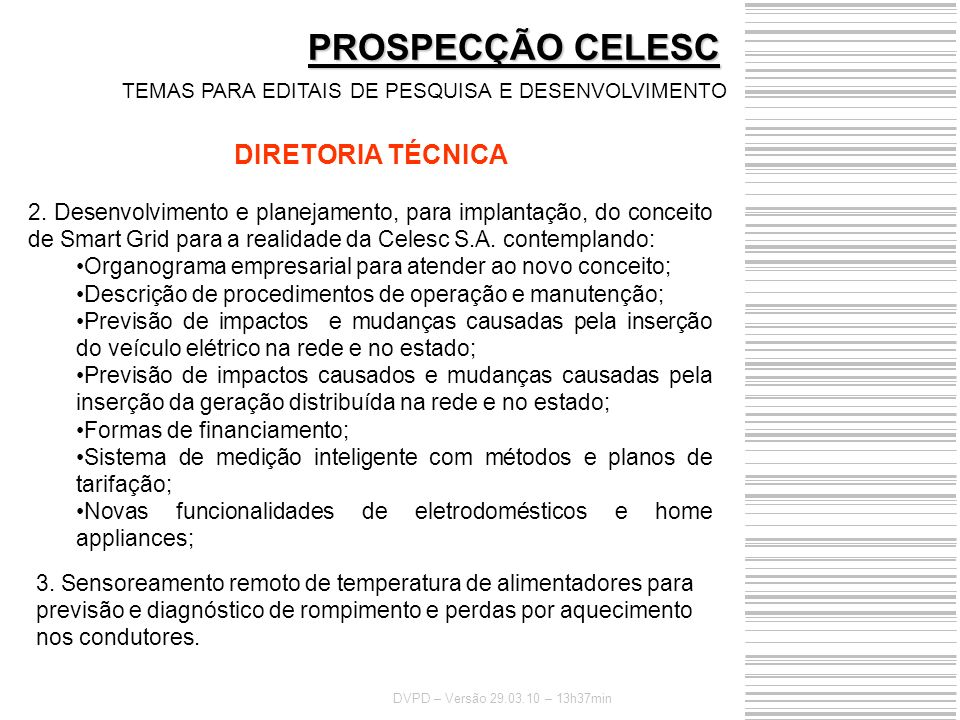 PROSPECÇÃO CELESC DIRETORIA TÉCNICA