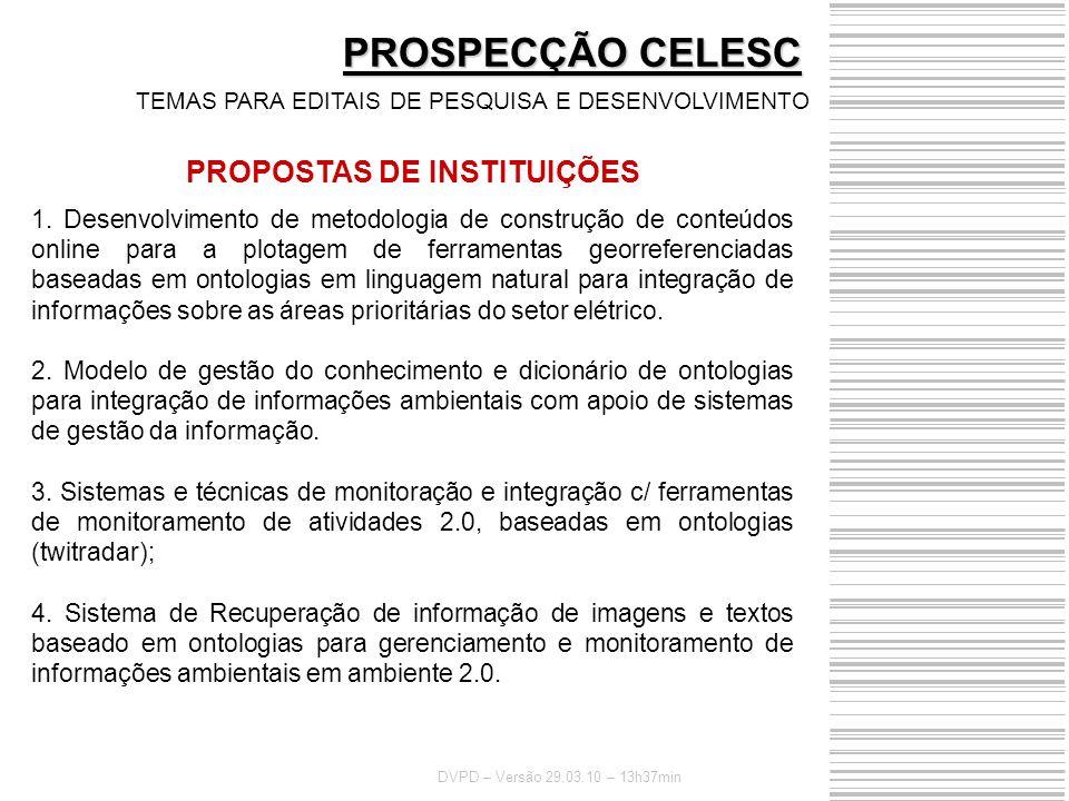 PROPOSTAS DE INSTITUIÇÕES