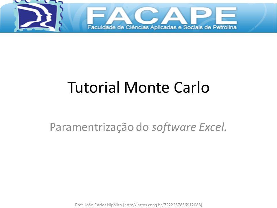 Paramentrização do software Excel.