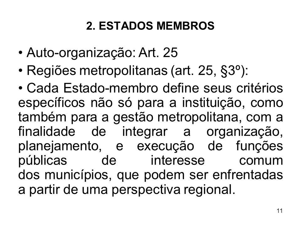 Auto-organização: Art. 25 Regiões metropolitanas (art. 25, §3º):