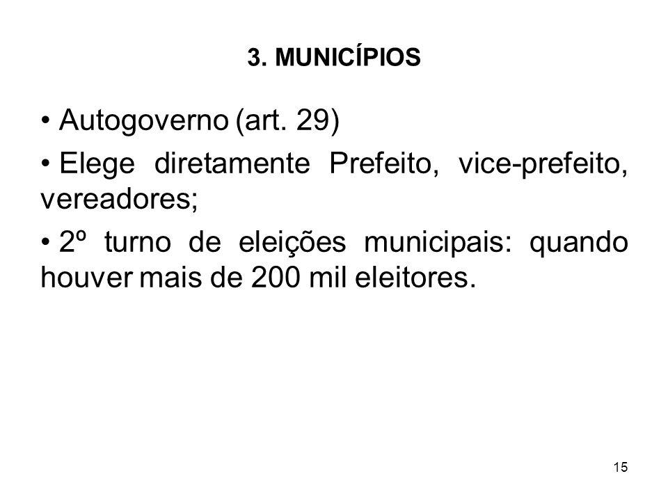 Elege diretamente Prefeito, vice-prefeito, vereadores;