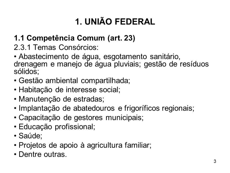 1. UNIÃO FEDERAL 1.1 Competência Comum (art. 23)