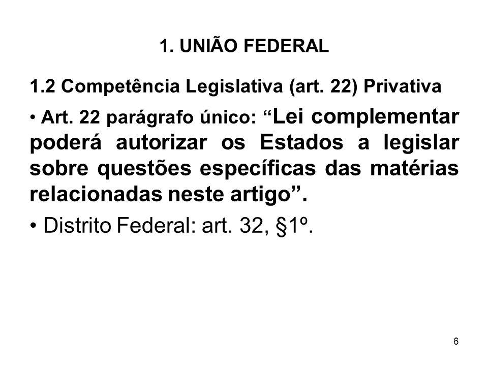 Distrito Federal: art. 32, §1º.