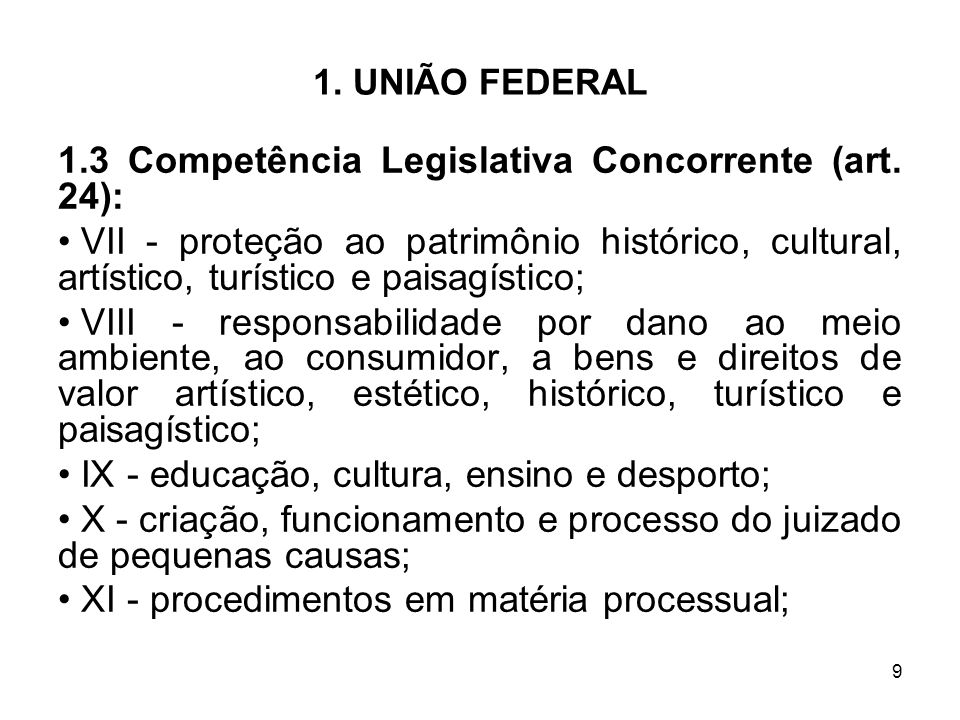 1.3 Competência Legislativa Concorrente (art. 24):