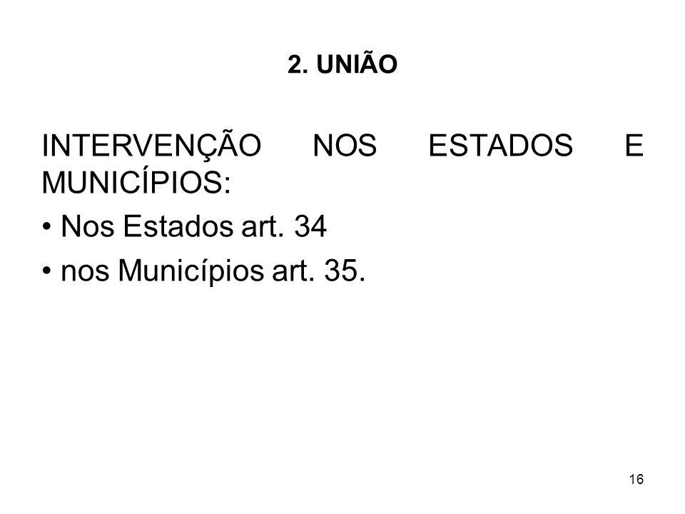 INTERVENÇÃO NOS ESTADOS E MUNICÍPIOS: Nos Estados art. 34