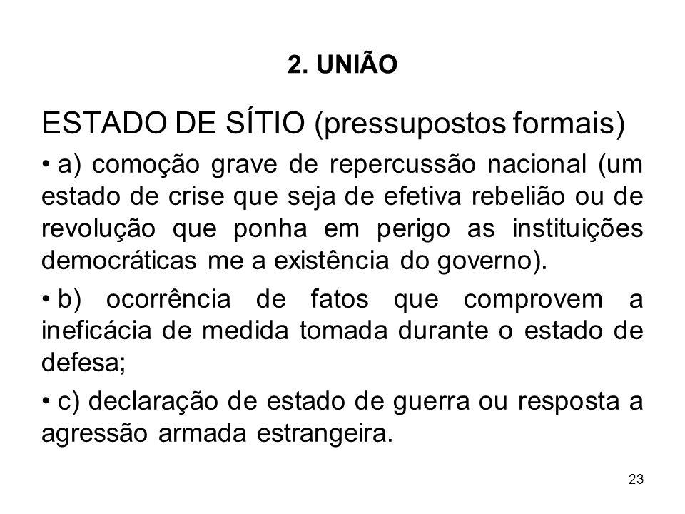 ESTADO DE SÍTIO (pressupostos formais)