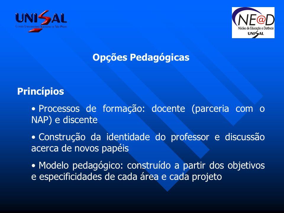 Opções Pedagógicas Princípios. Processos de formação: docente (parceria com o NAP) e discente.