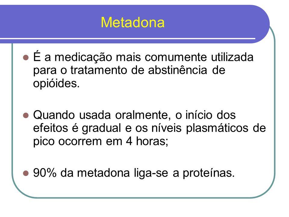 MetadonaÉ a medicação mais comumente utilizada para o tratamento de abstinência de opióides.