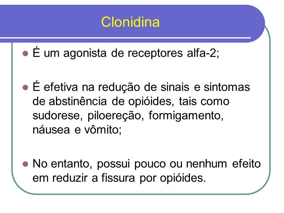 Clonidina É um agonista de receptores alfa-2;