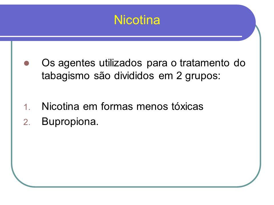 Nicotina Os agentes utilizados para o tratamento do tabagismo são divididos em 2 grupos: Nicotina em formas menos tóxicas.