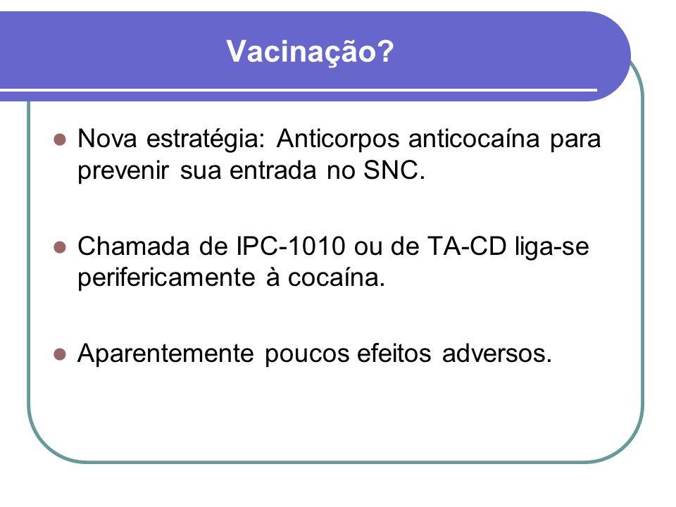 Vacinação Nova estratégia: Anticorpos anticocaína para prevenir sua entrada no SNC.