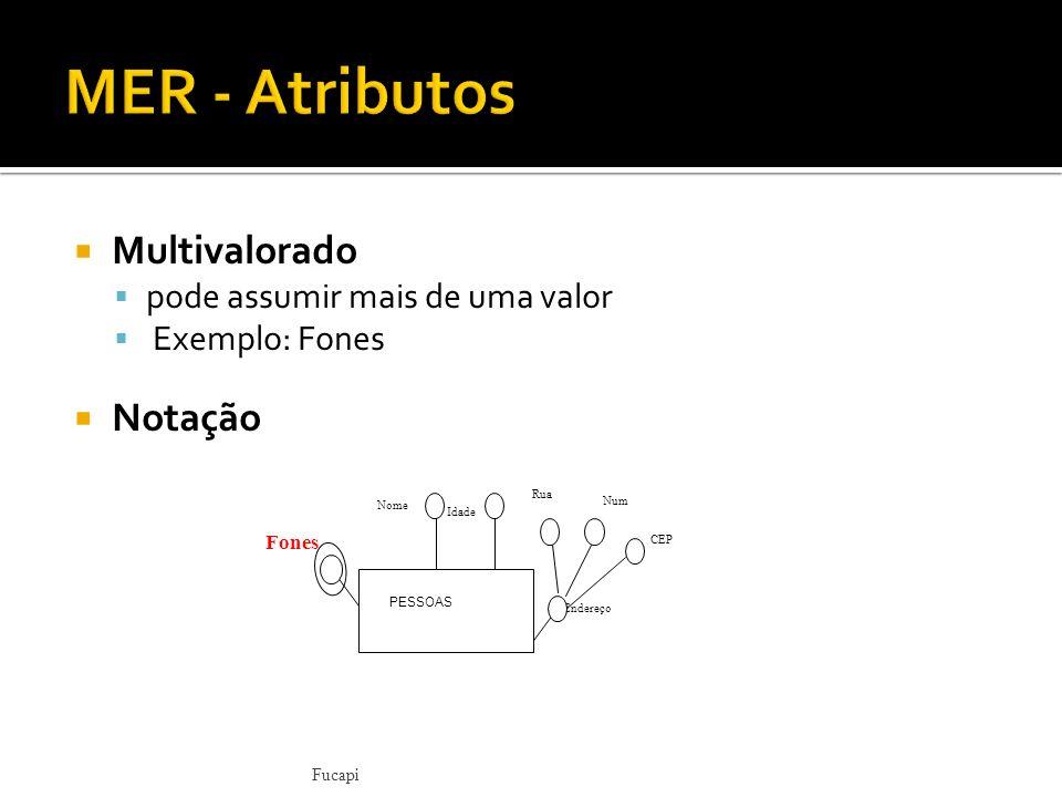 MER - Atributos Multivalorado Notação pode assumir mais de uma valor