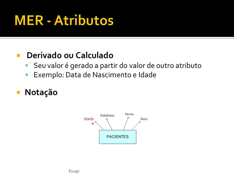 MER - Atributos Derivado ou Calculado Notação