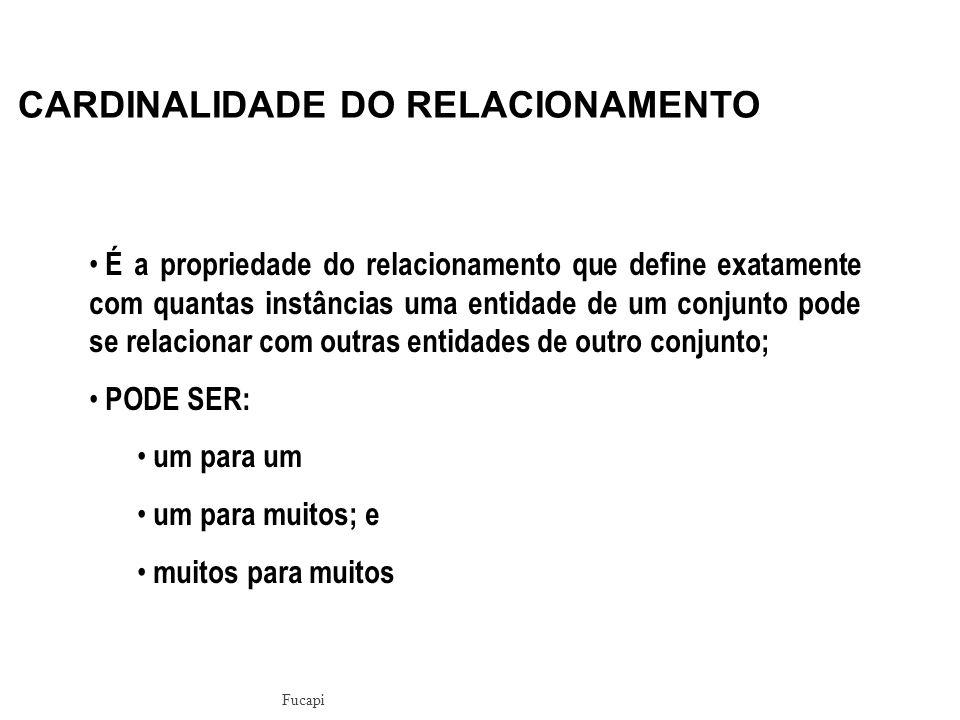 CARDINALIDADE DO RELACIONAMENTO