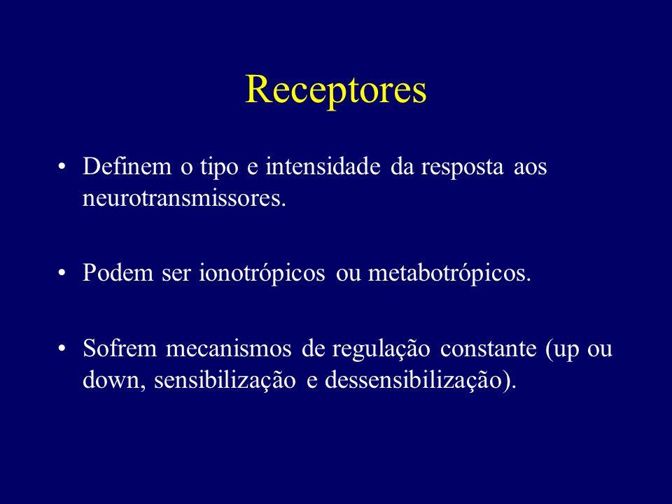 Receptores Definem o tipo e intensidade da resposta aos neurotransmissores. Podem ser ionotrópicos ou metabotrópicos.