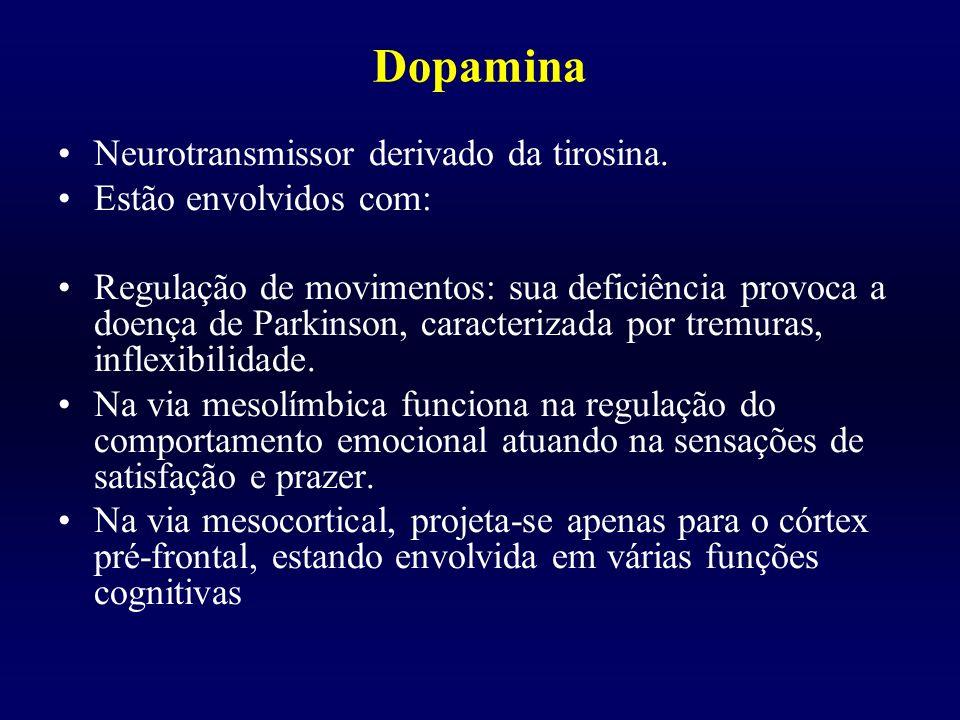 Dopamina Neurotransmissor derivado da tirosina. Estão envolvidos com: