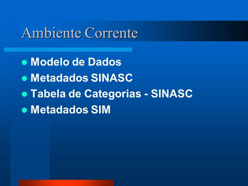 Ambiente Corrente Modelo de Dados Metadados SINASC